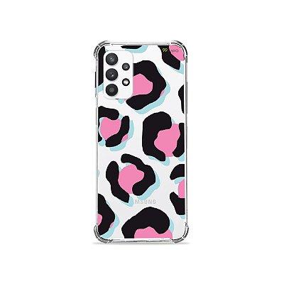 Capa (Transparente) para Galaxy A32 5G - Animal Print Black & Pink