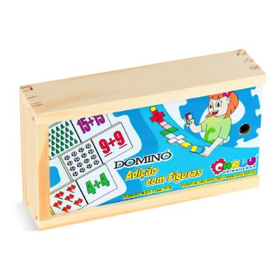 Domino adicao com figuras - MDF - 28 pc - Cx. mad.