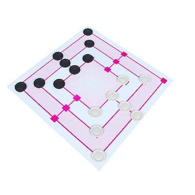 Jogo de damas e trilha 30 x 30cm - MDF - 24 pc - Emb plast.
