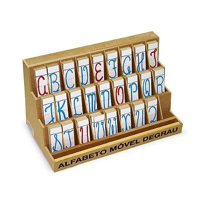 Alfabeto mov degrau cursivo - MDF - 130 pc - PVC enc.