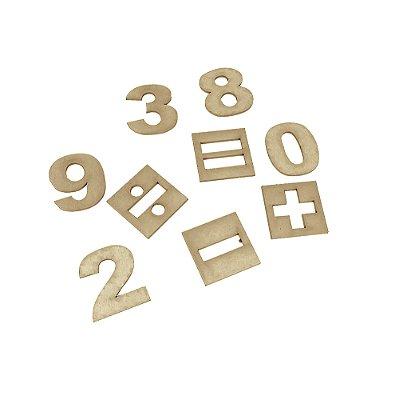 Numerais e sinais MDF - 35 pc - Cx. mad.