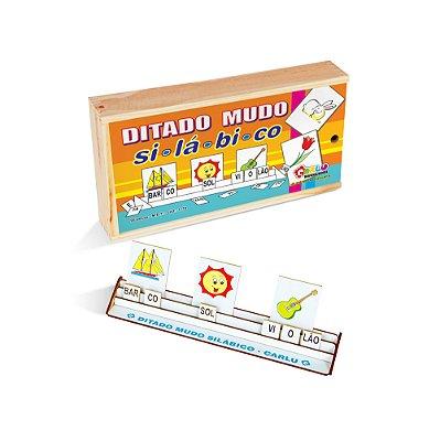 Ditado mudo silabico - MDF - 95 pecas - Cx. madeira