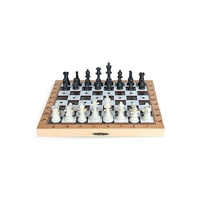 Jogo de xadrez adaptado (Grande) Rei 10cm - 32 pc - Cx. MDF