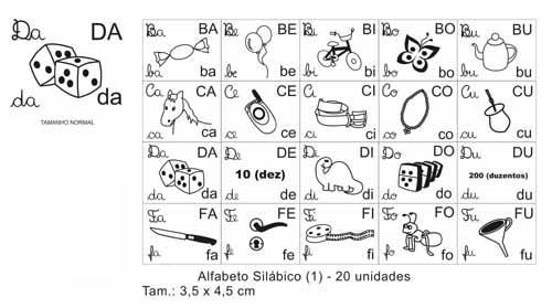 Carimbo Alfabeto silabico (1) - Mad. - 20 pc - Cx. papel