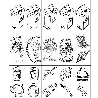 Carimbo coleta seletiva - Mad. - 21 pc - Cx. papel