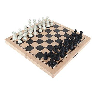 Jogo Xadrez Escolar Medio Rei 7 5cm 32 Peças Mdf