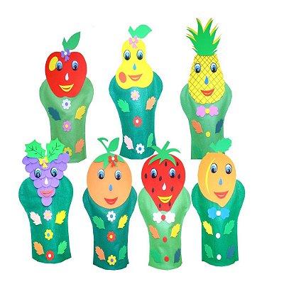 Fantoches Frutas Feltro 7 Personagens