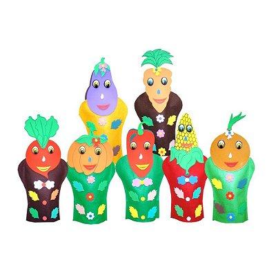 Fantoches Legumes Feltro 7 Personagens