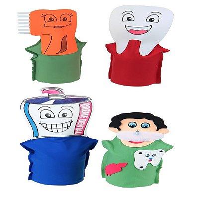 Fantoches Higiene Bucal Feltro 4 Personagens