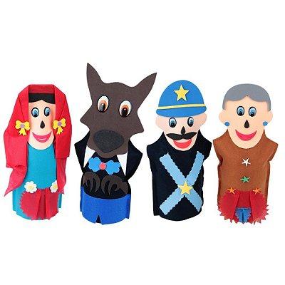 Fantoches Chapeuzinho Vermelho Feltro 4 Personagens
