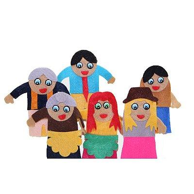 Dedoche Familia Branca Feltro 6 Personagens