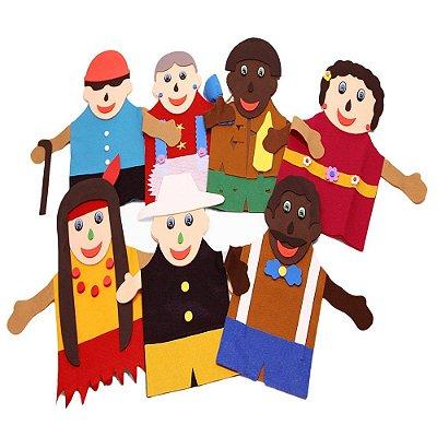 Fantoches Inclusao Social Feltro 7 Personagens
