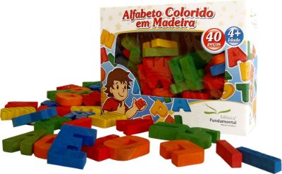 Alfabeto Movel Colorido Em Madeira 40 Peças