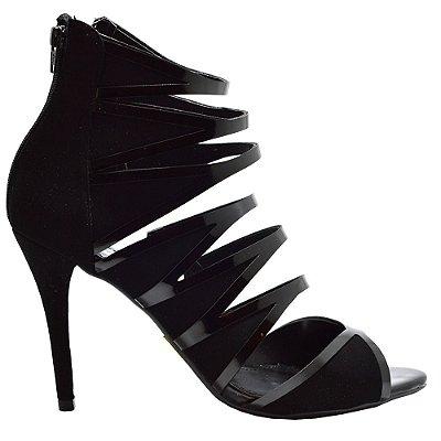 Sandal Boot Eleven Eleven Preto com Tiras