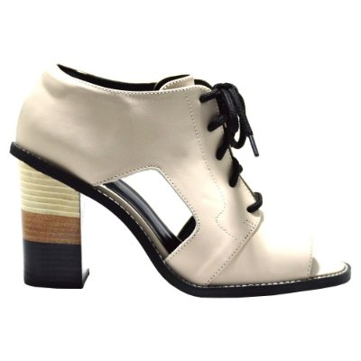 "Sandal Boot Eleven Eleven ""Charlize"" em Couro Off White"