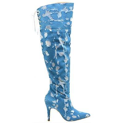 """Bota Over The Knee """"Milena"""" em Jeans Rasgado Azul by DRSKA"""