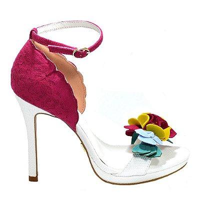 """Sandália """"Camilly"""" Branco/Pink com Flores by DRSKA"""