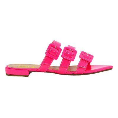 Rasteirinha Neon Pink com Fivelas by DRSKA