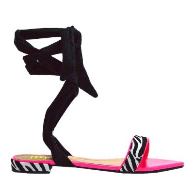 Rasteirinha de Amarrar Neon Pink/Zebra by DRSKA