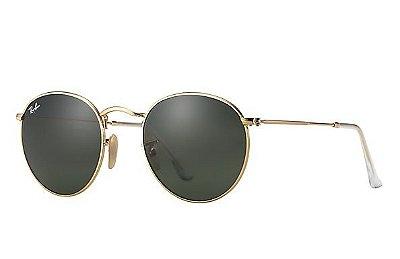 Óculos Redondo RB 3447 Round Armação Dourada Lente Verde