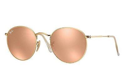 Óculos Redondo RB 3447 Round Armação Dourada Lente Rosa Espelhada