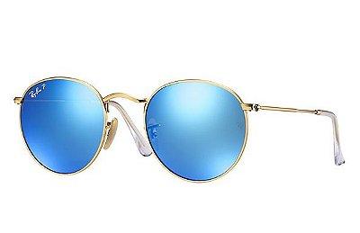 Óculos Redondo RB 3447 Round Armação Dourada Lente Azul semi Espelhada