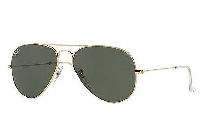Óculos  RB 3025 Aviador Armação Dourada Lente verde