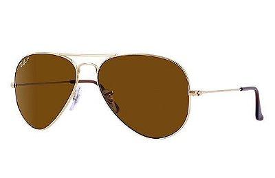 Óculos  RB 3025 Aviador Armação Dourada Lente marrom