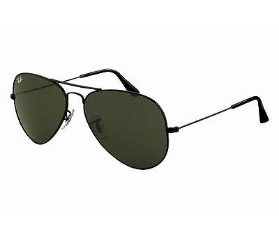 Óculos  RB 3025 Aviador Armação Preta Lente verde