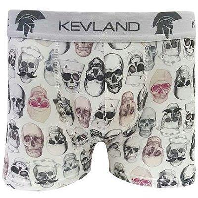 Cueca Kevland Boxer Caveira Branco