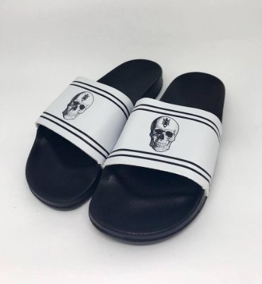 Chinelo Slide Skull And White - Riviera Clothing