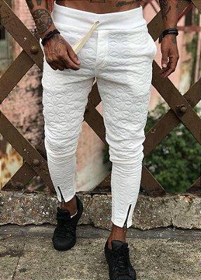 Calça Moletom White com Ziper - Blessed Man