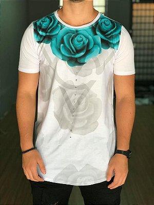 Camiseta Longline Rosas White - Conviction