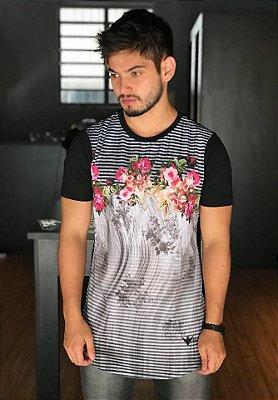 Camiseta Longline Flowers Listra 6607 - Evoque
