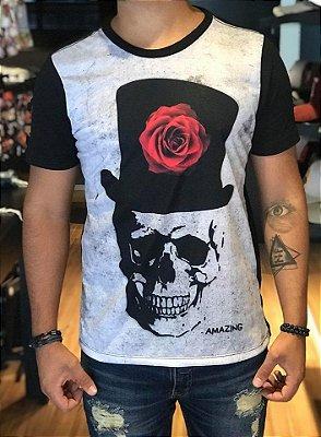 Camiseta Caveira & Rosa - Amazing