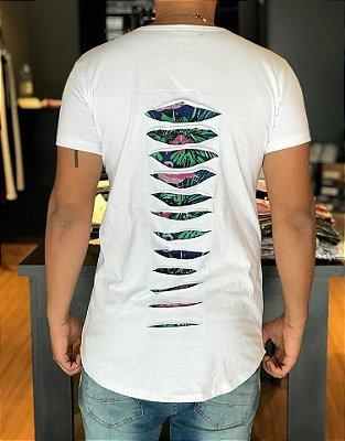Camiseta Longline Recortes Flamingos White - Reich