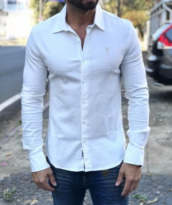 Camisa Manga Longa Off White com Logo Bordado - Zip Off ab90b38eeda