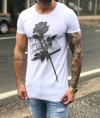 Camiseta Longline Roses White - John London