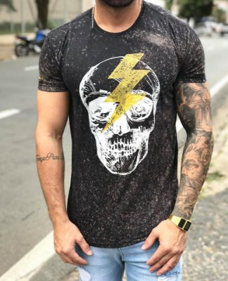Camiseta Longline Skull Thunder - Effel Culture