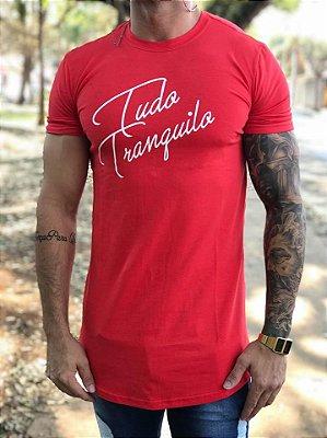 Camiseta Longline Red Assignature - Tudo Tranquilo