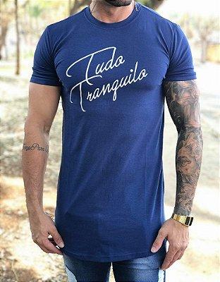 Camiseta Longline Blue Assignature - Tudo Tranquilo