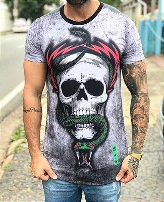 Camiseta Longline Skull Snake - Evoque