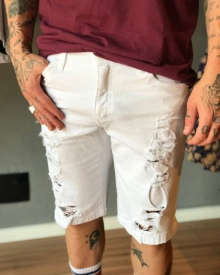Bermuda Jeans White Destroyed - Austin Club