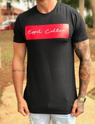 Camiseta Longline Black/Red - Effel Culture