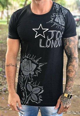 Camiseta Longline Black Flowers - John London