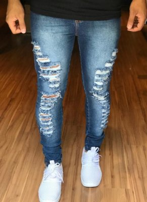 Calça Jeans Escura Destroyed Ziper - Nifty