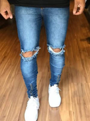 Calça Jeans Skinny C/Ziper Frontal Destroyed - Nifty