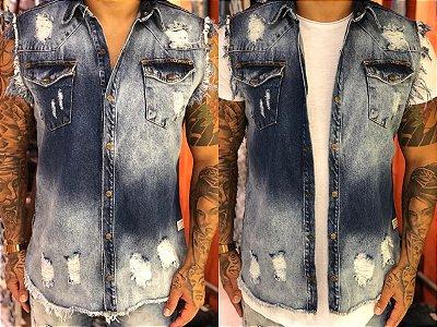 Colete Jeans Heavy com Used - Degrant