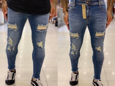 Calça Jeans Skinny Destroyed MD Respingos - Degrant