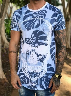Camiseta Longline Skull Glasses 6728 - Evoque